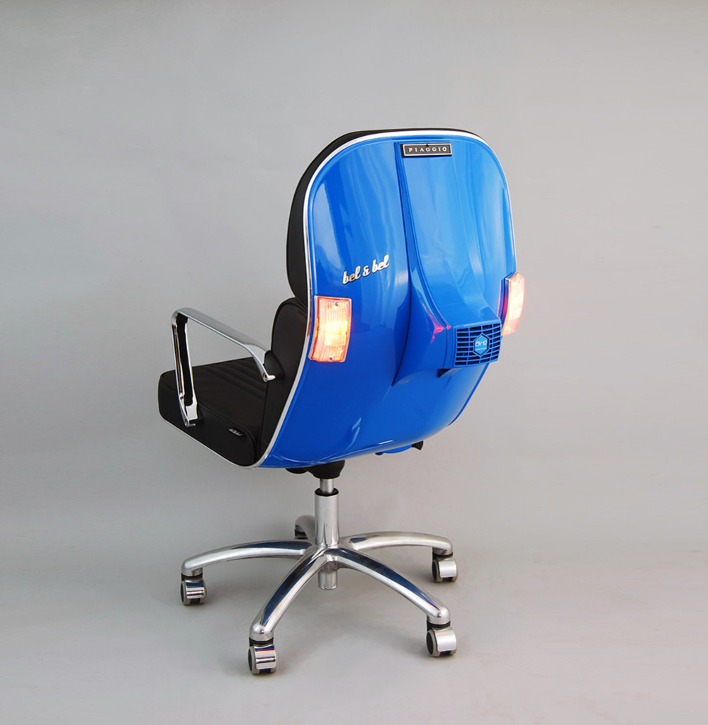 Vintage Vespa Parts Recontextualized as Sleek Modern Office Furniture