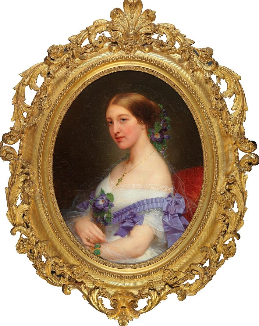 Nicaise de Keyser (Santvliet 1813–1887 Antwerp)<br /> Portrait of a Lady with Decorative Flowers, signed, dated, N de Keyser 1855