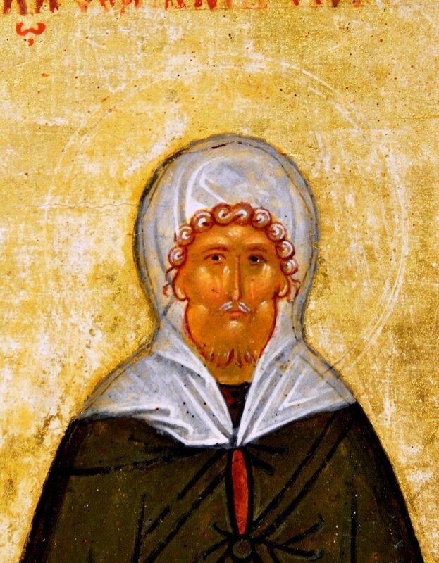 Святой Преподобный Ефрем Сирин. Фрагмент новгородской иконы конца XV века.