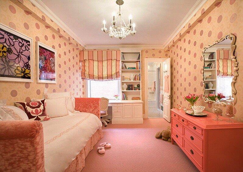 Детская комната в персиковом цвете дизайн