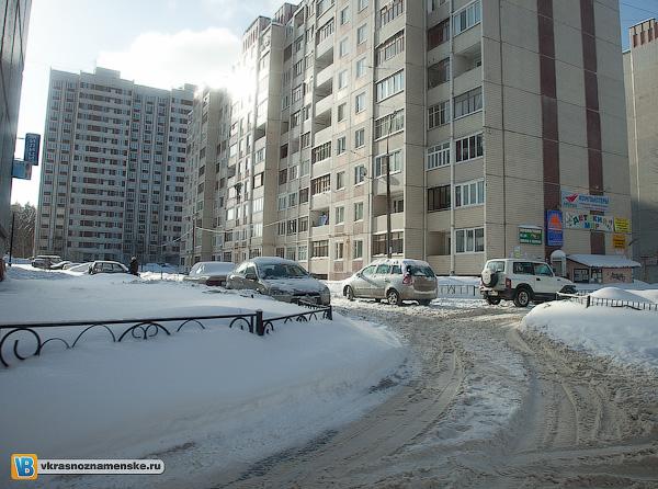 Снежные завалы в Краснознаменске