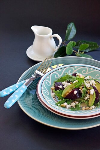 Beetroot, avocado & goats cheese salad with pine nuts