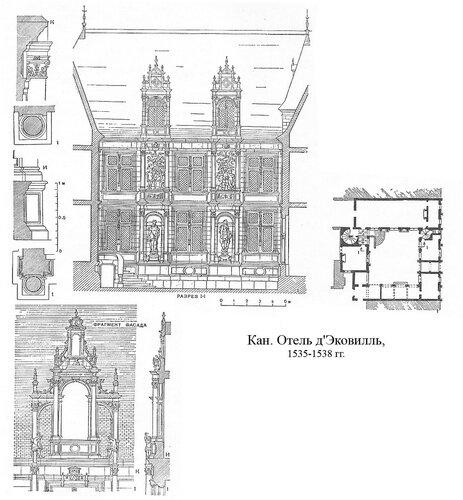 Отель д'Эковилль в Кане, чертежи