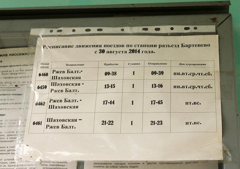 Расписание по станции Бартенево