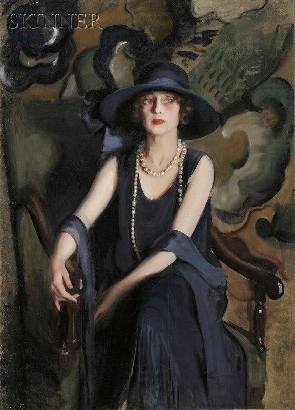 Картина девушка в черном платье