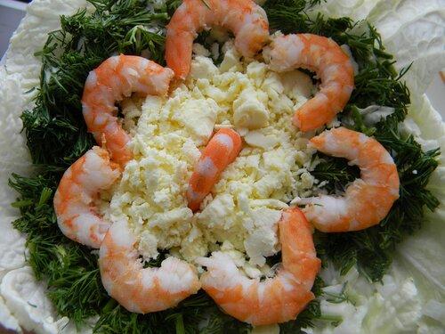 салат весенний с креветками