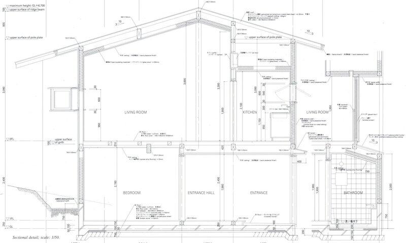 Разрез, проект жилого дома,