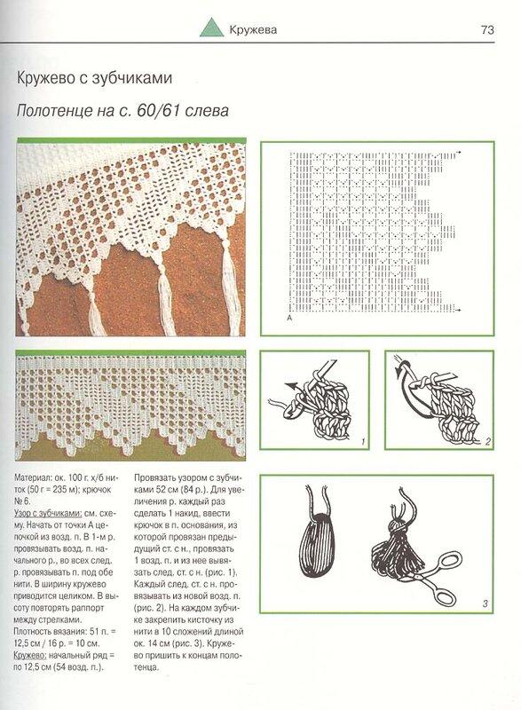 Вязание каймы крючком рушник