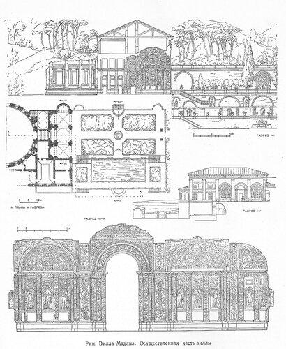 Вилла Мадама в Риме, осуществленная  часть виллы, чертежи