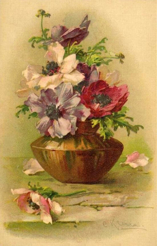 К. Кляйн. Анемоны в вазочке.