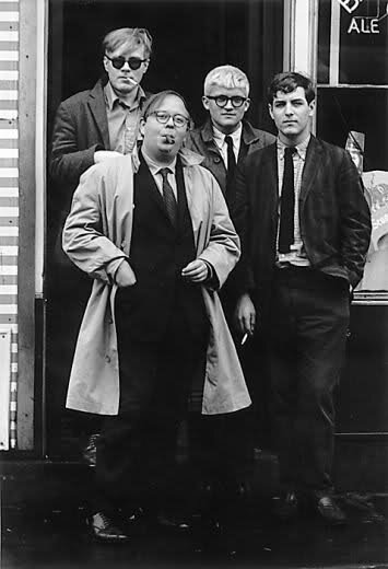 Andy Warhol, Henry Geldzahler, David Hockney, and David Goodman, 1963