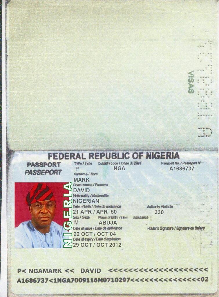 Нигерийский паспорт. Из нигерийского письма