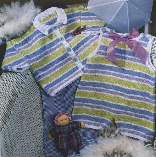 Полосатая кофточка на ребенка 6 месяцев и 1 года, связанная спицами