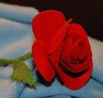Брошка Красная роза из фетра
