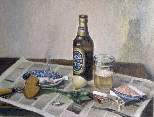 Володуцкий Андрей. Натюрморт с пивом и закуской. 2006