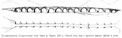 Хударферинский 15-пролетный мост через реку Аракс. XII в., чертежи