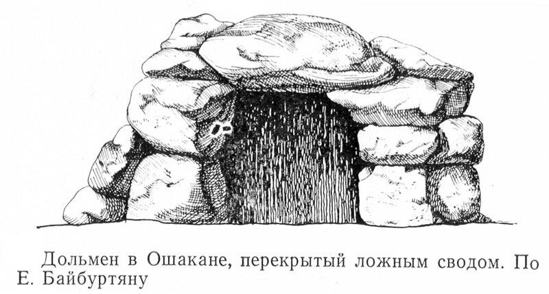 Дольмен в Ошакане, перекрытый ложным сводом по Е. Байбуртяну
