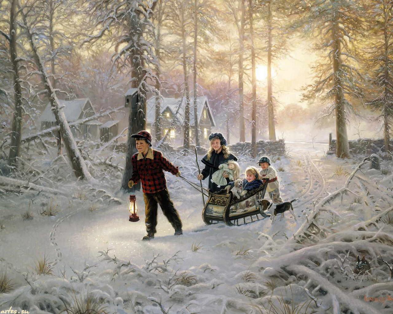 Зима рисунки детей фото 3