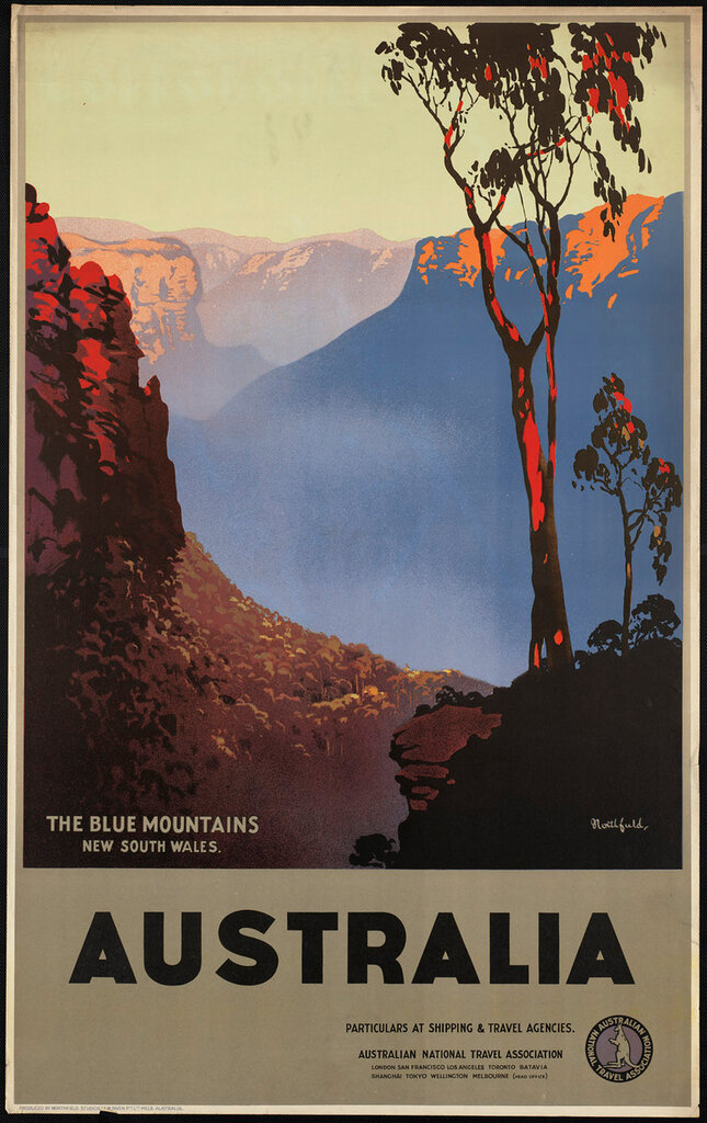 Travel posters Australia, the Blue Mountains 1930-39.Northfield, James, 1887-1973