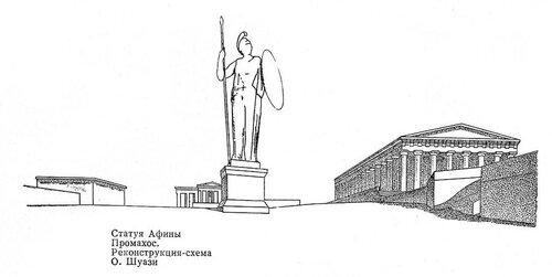 Статуя Афины Промахос на афинском акрополе, реконструкция Шуази