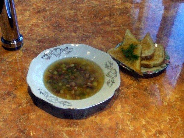 Гороховый суп с крутонами
