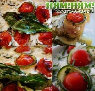 Кабачки, запеченные с помидорами черри и фетой.
