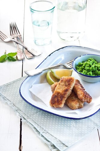 Cashew fish fingers with mushy minted peas