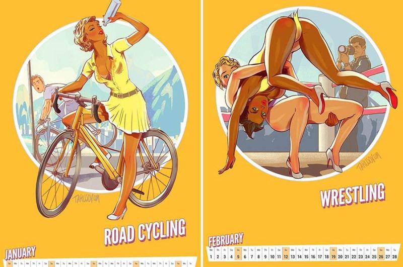 Пин–ап календарь посвященный Олимпиаде, созданный российским художником