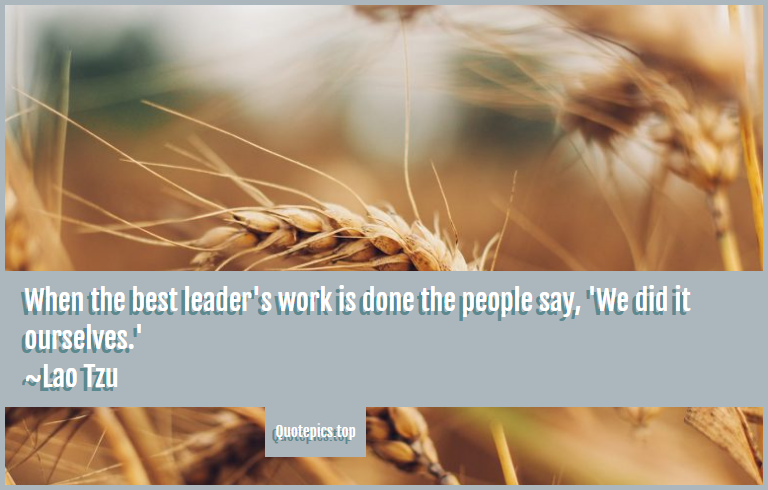 When the best leader's work is done the people say, 'We did it ourselves.' ~Lao Tzu