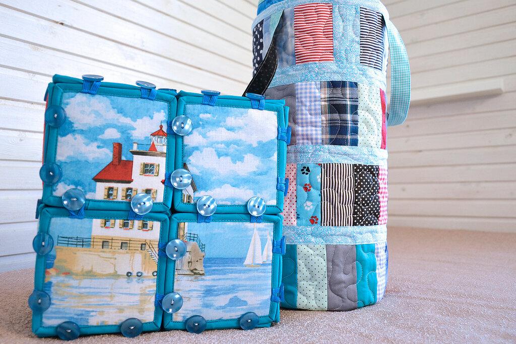 морские кубики текстильный набор покрывало торба (6).JPG