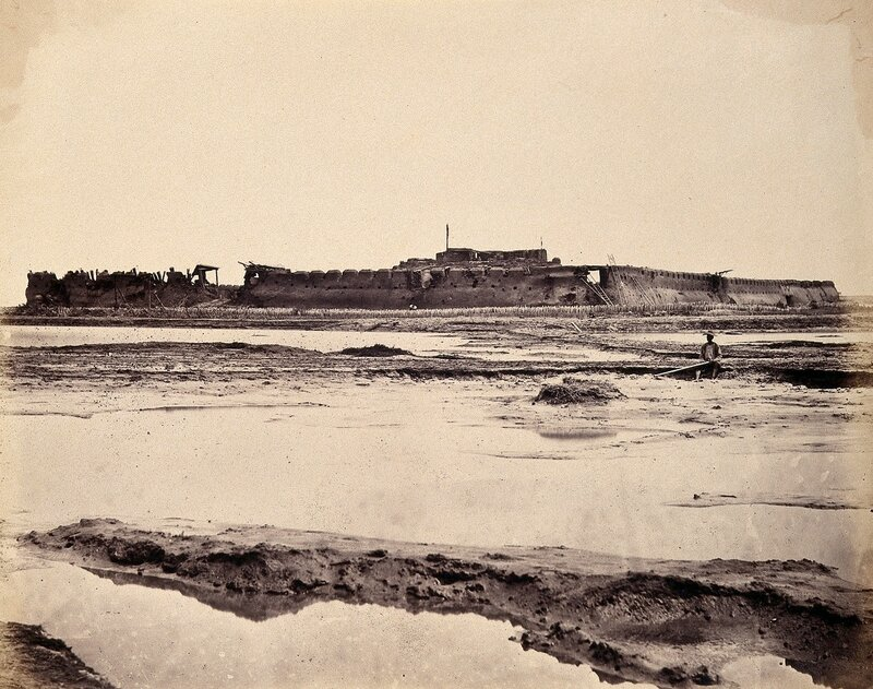 V0037620 Exterior view of the North Fort of Taku on the Peiho River