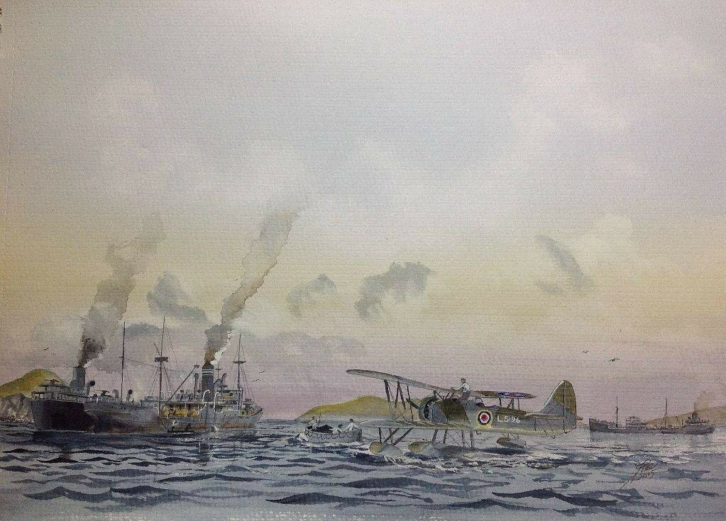 Japanese E8N 'dave' purchased by a German Admiral in Japan during WW2, and sent out to join the Commerce Raider 'Orion'  The location is Maug Islands.