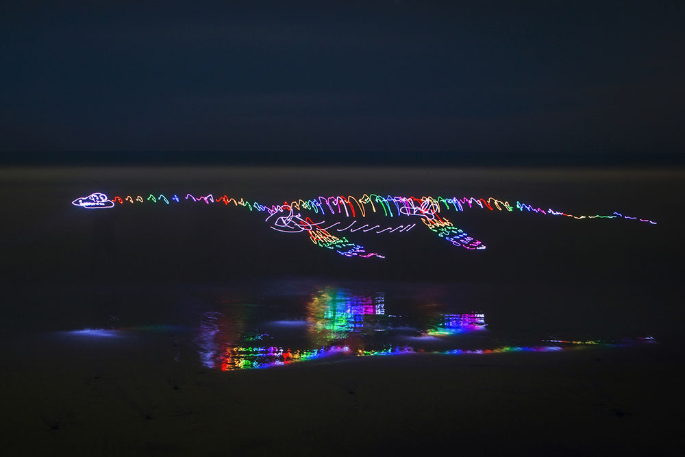 Scribbled Rainbow Light Paintings of Dinosaurs and Other Creatures by Darren Pearson (8 pics)