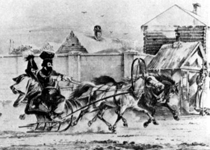 Офицер в санях и будочник. 1820. Литография А. Орловского