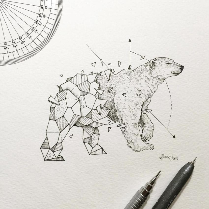 Os animais abstratos e geometricos de Kerby Rosanes