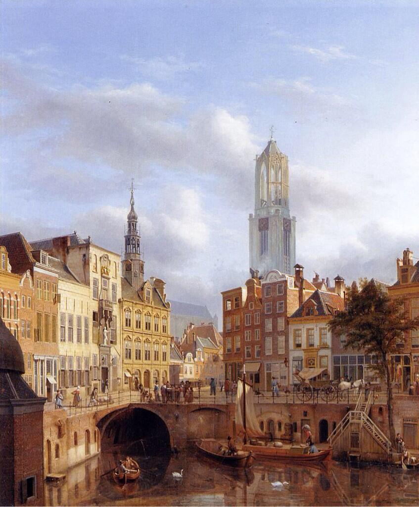 'The Oudegracht with a view of the Old Town Hall and the Dom Tower beyond, Utrecht'