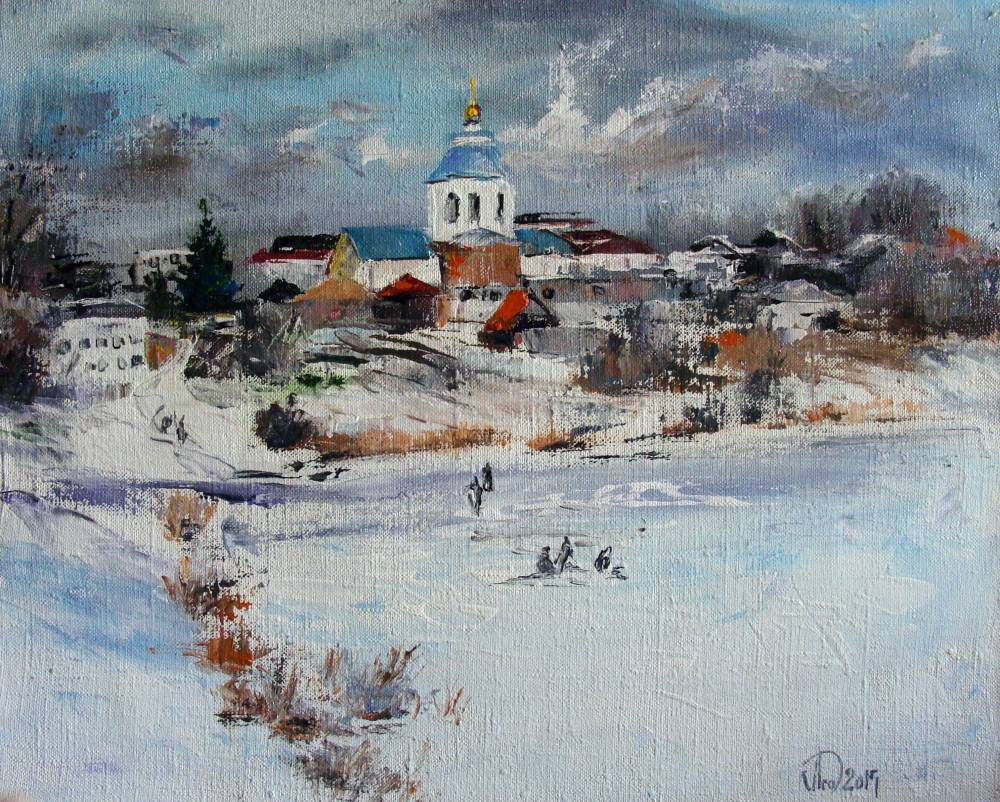 Леднев Александр Алексеевич . Зима. Рыбаки..jpg