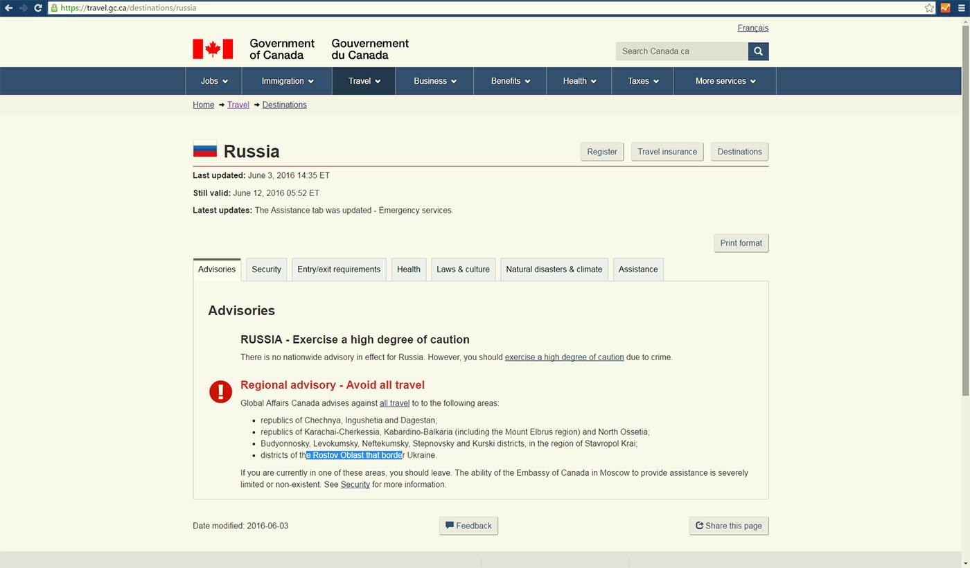 Рисунок. Предупреждение об опасности путешествия по некоторым регионам России для канадских туристов.