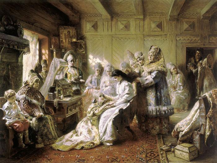 Под венец. Маковский К.Е., 1884 год.  Царь наблюдал за кандидатками, когда все вместе обедал