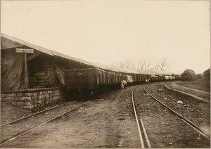 Вид поезда на станции у навеса (длиной 136 саж.) на интендантской рампе, построенного нижними чинами бригады.