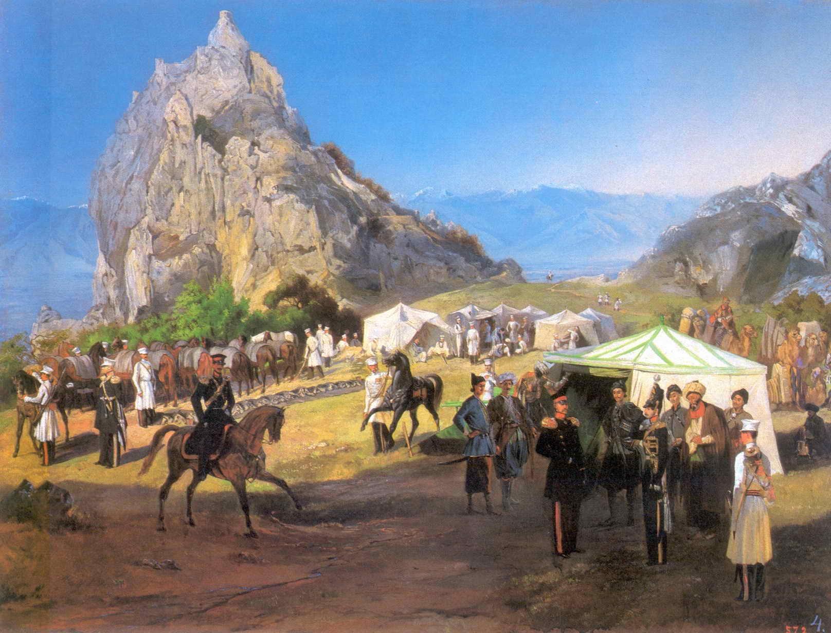 Гагарин Г.Г. Летний лагерь Нижегородского драгунского полка под Кара-Агачем.
