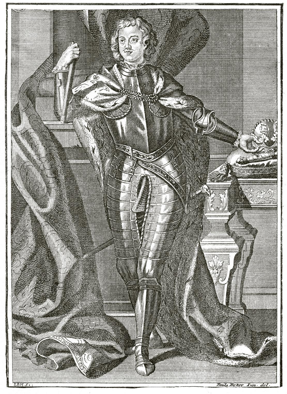225. Портрет Петра I в латах, с непокрытой головой: Е. В. Н. Sc. Paul Deker Jun. del.