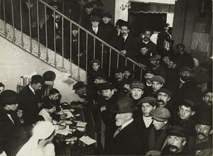 1914. Регистрация бельгийских беженцев в Парижском цирке