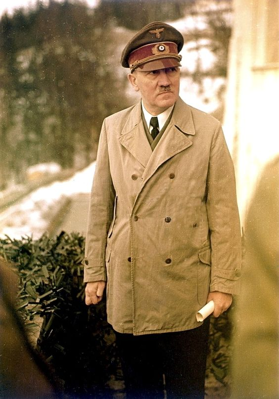"A nazi third reich historical picture entitled "" hitler near the end of world war 2 looking old and ill ""."
