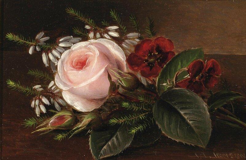 Роза и маки на деревянном выступе.jpg