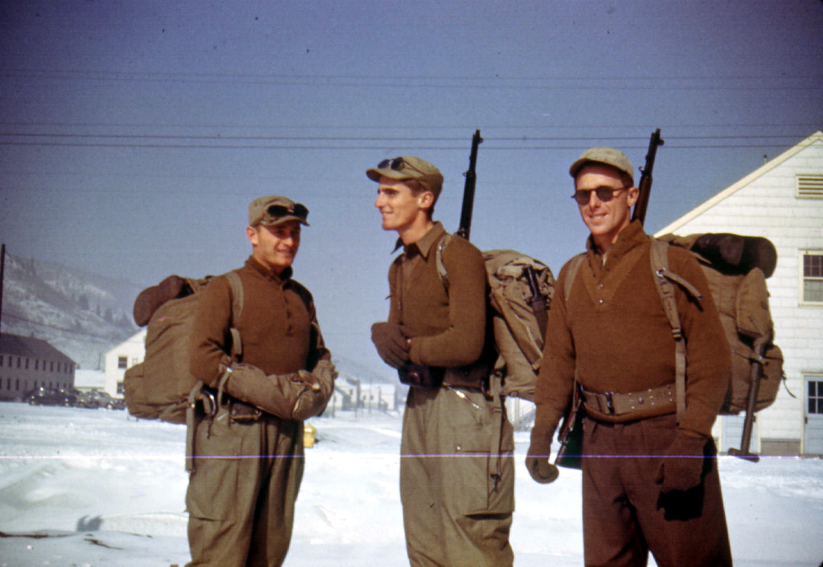 4 Three unidentified Tenth Mountain Division soldiers pose for a photograph at Camp Hale, Colorado. They are dressed for winter training.jpg