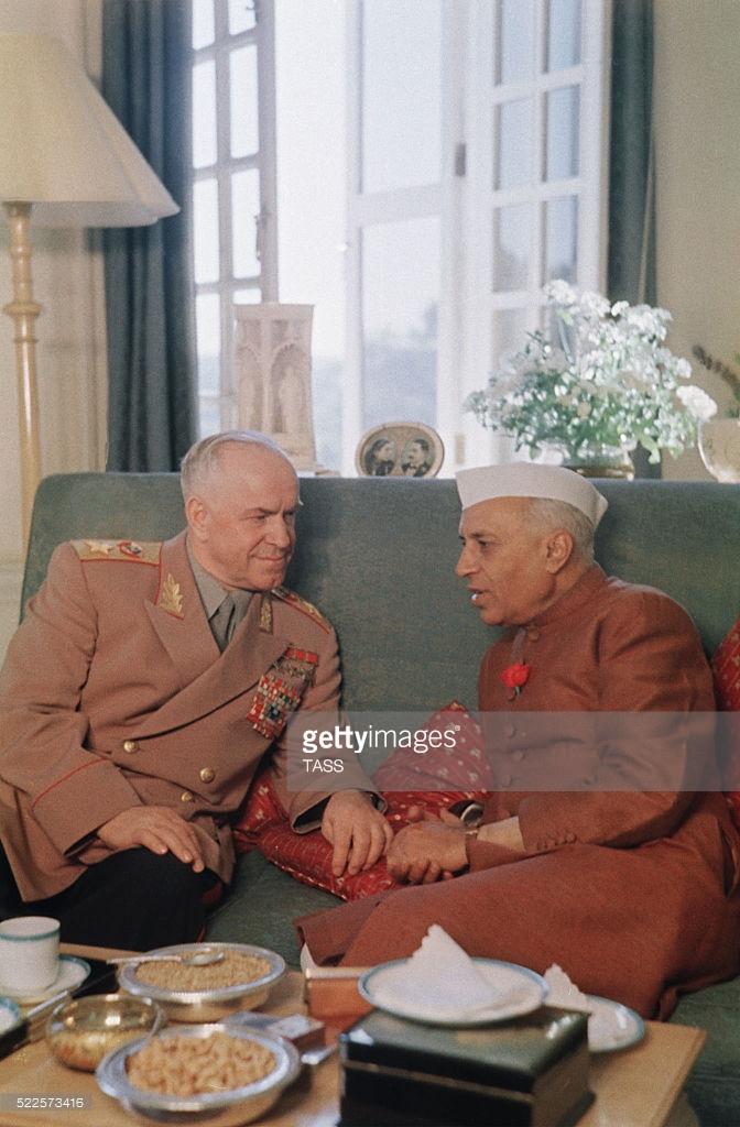 Жуков и Неру, Дели, 1957 год