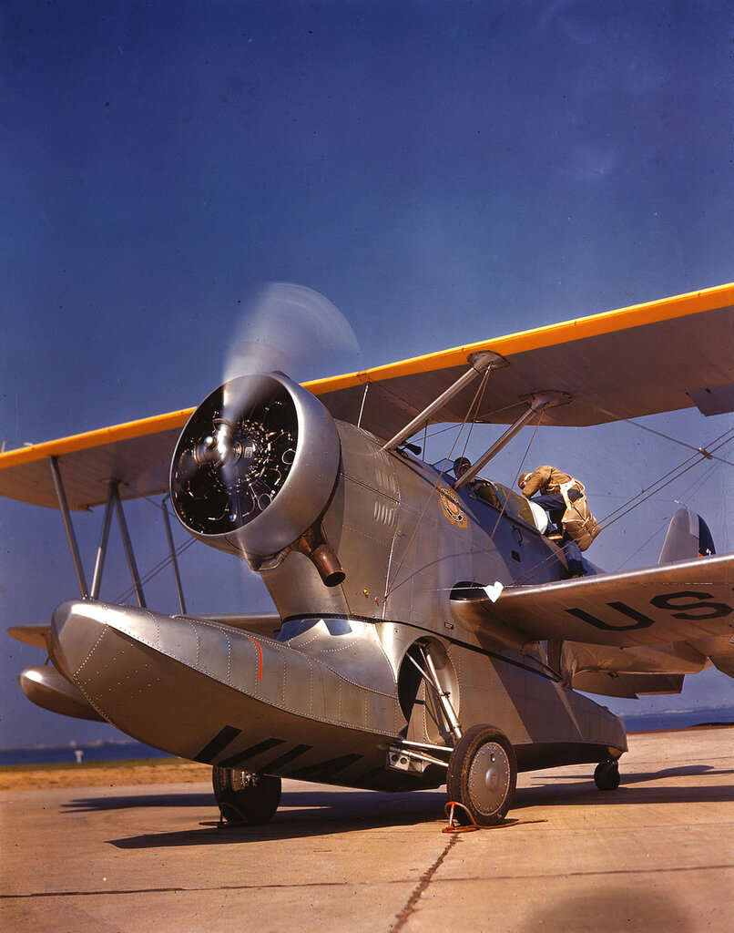 U. S. Coast Guard Grumman JF-2 Duck with engine running, pilot is climbing into the rear cockpit, probably Floyd Bennett Field, N.Y. ca. 1943.