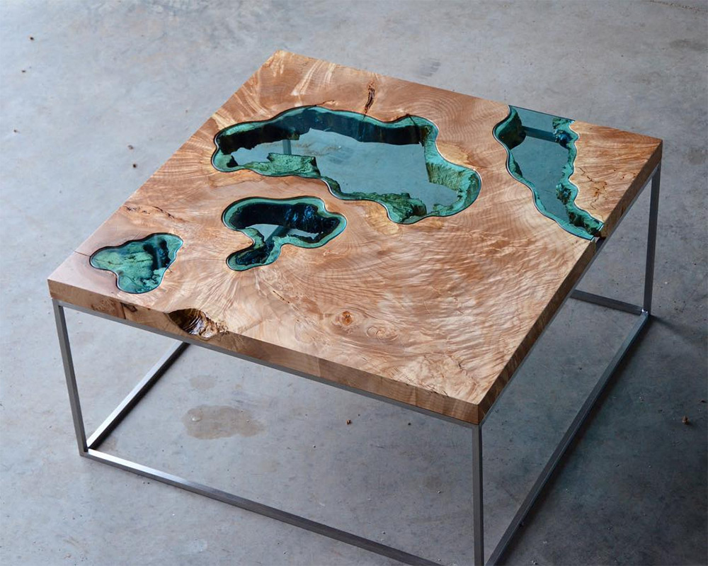 Wood Tables and Wall Art Embedded with Glass Rivers and Lakes by Greg Klassen (14 pics)