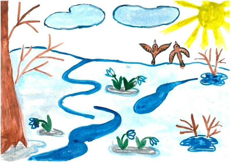 Первые подснежники - Овечкина Лена, 7 лет, Тема -- Рисунок, г. Карпинск.jpg